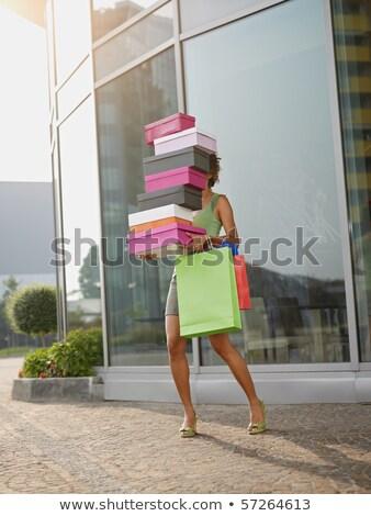 неузнаваемый женщины коробки обувь улице портрет Сток-фото © studiolucky