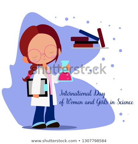 science day card of scientist people working stock photo © cienpies