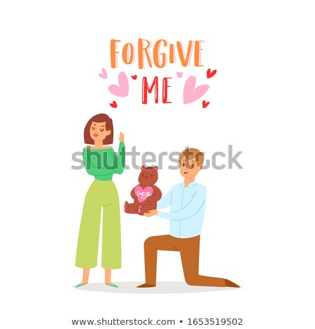 Stok fotoğraf: Man And Woman Asking Forgiveness Vector Cartoon Poster
