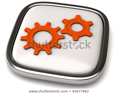 Foto stock: Global Connectivity - Mechanism of Shiny Metal Cog Gears. 3D.