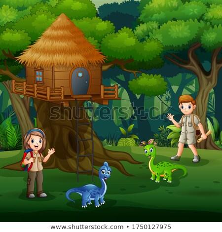 Spelen boom kind landschap achtergrond kunst Stockfoto © colematt