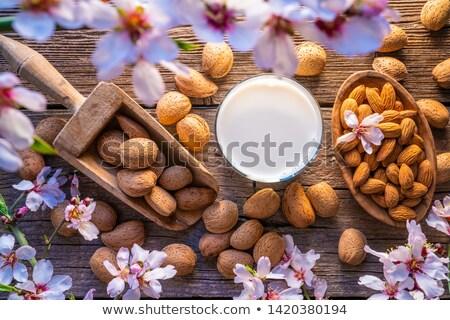 almond spring blossom harvest on wood stock photo © lunamarina