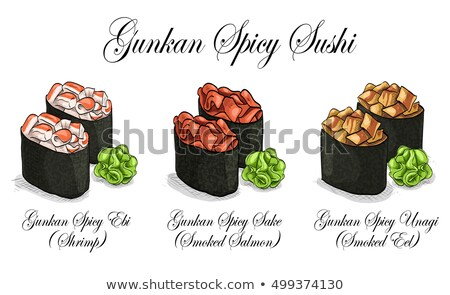 Vector set, color sketch, Gunkan Spisy Sushi Stock photo © netkov1