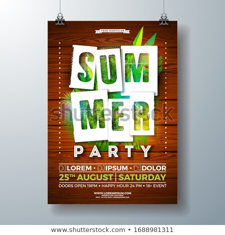 Vector Summerparty Flyer Design With Tropical Palm Leaves And Paper Cutting Typography Letter On Vin Stok fotoğraf © articular