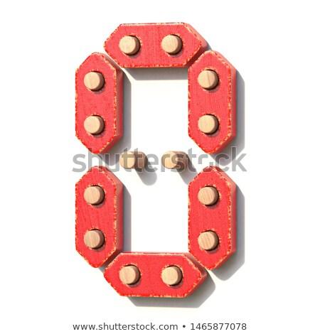 木製玩具 赤 デジタル 番号 ゼロ 3D ストックフォト © djmilic