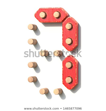Wooden toy red digital number 7 SEVEN 3D Stock photo © djmilic