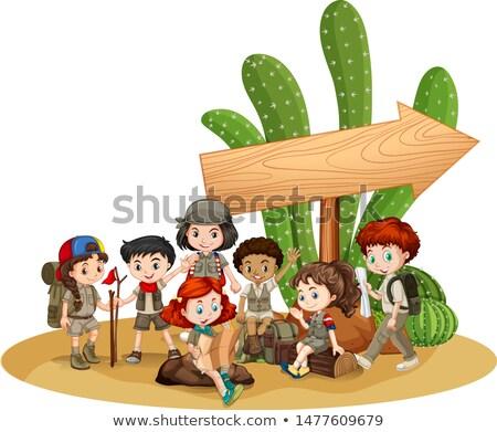 üres tábla sablon gyerekek kaktusz illusztráció lány Stock fotó © bluering