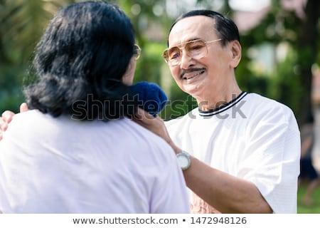Senior uomo tovagliolo sudare faccia Foto d'archivio © Kzenon