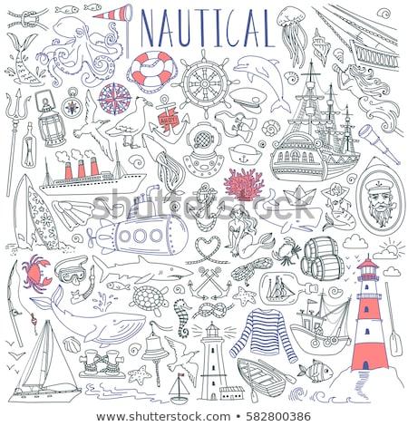 Cartoon подводного жизни иллюстрация линия Сток-фото © balabolka