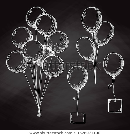 Group of balloons on a string. Hand drawn chalk on the board. Ve Stock photo © Arkadivna