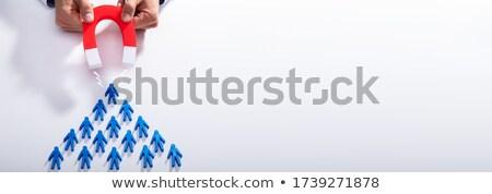 ビジネスマン 青 チーム 馬蹄 磁石 手 ストックフォト © AndreyPopov