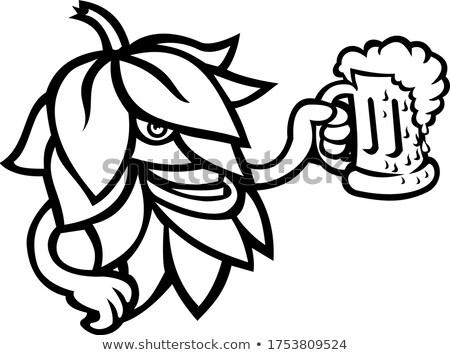 Hop Plant Drinking a Mug of Ale Mascot Black and White Stock photo © patrimonio