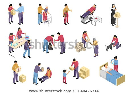 Volunteers Support Aid Sign isometric icon vector illustration Stock photo © pikepicture