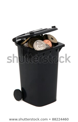 Black Garbage Bin With European Coins On White Stock fotó © pterwort