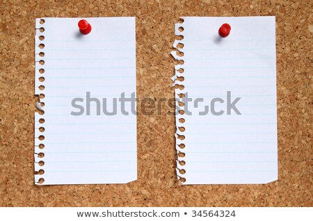 Two blank paper pages from a notebook pinned to a cork noticeboard. Stock photo © latent
