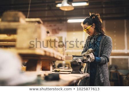 Feminino artesão cara trabalhador ferramenta capacete Foto stock © photography33