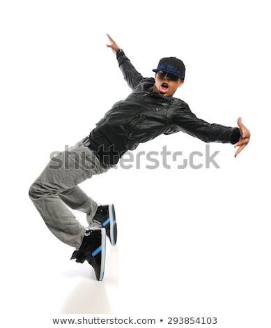 Hip hop danser geïsoleerd witte jonge man dans Stockfoto © feedough