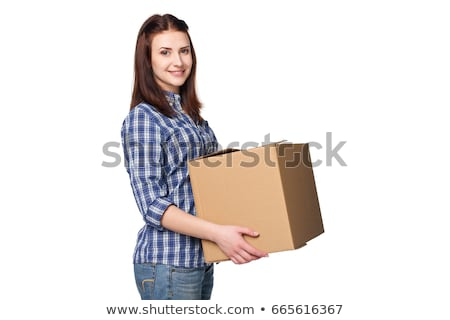 Woman carrying boxes Stock photo © photography33