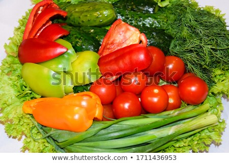 Motley onions, garlic and peppers Stock photo © boroda