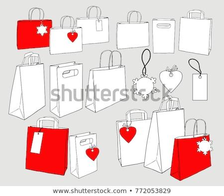 Photo stock: Sac · Shopping · flocons · de · neige · eps · rouge · vecteur