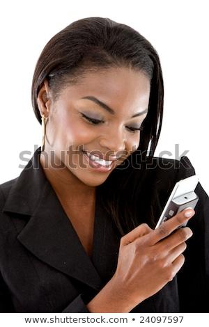 elegante · zakenvrouw · praten · mobiele · mobiele · telefoon · witte - stockfoto © photography33