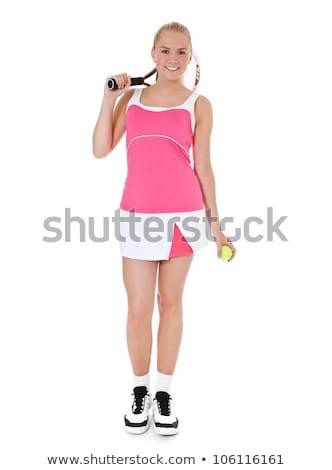 Lány teniszező áll fehér sport fitnessz Stock fotó © photography33