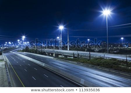 複数 · 通り · ライト · 徒歩 · 道路標識 · 車 - ストックフォト © chrisbradshaw