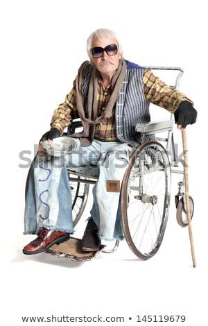 Mendiant fauteuil roulant hommes handicapées personne guitare Photo stock © ia_64
