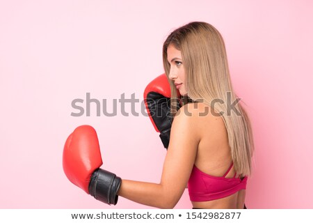 attractive blond woman in boxers gloves stock photo © acidgrey