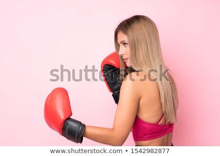 Vonzó szőke nő boxeralsó kesztyű fiatal Stock fotó © acidgrey