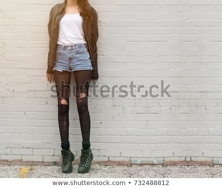 meisje · witte · slipje · jeans · Open · textuur - stockfoto © acidgrey
