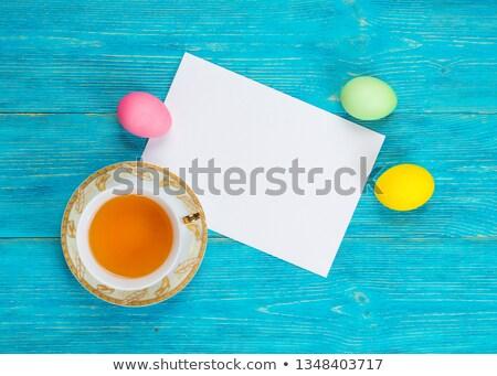 Сток-фото: розовый · пасхальное · яйцо · желтый · старой · бумаги · цветы · полосатый