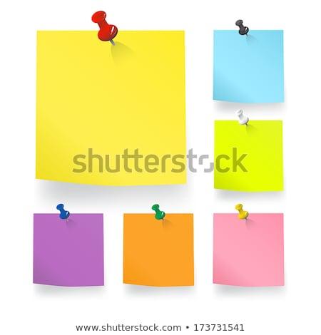 Orange Blank Sticky Note With Yellow Push Pin Stock photo © cammep