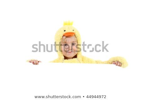 Stockfoto: Ongen · In · Een · Kippenkostuum · Met · Een · Bordje