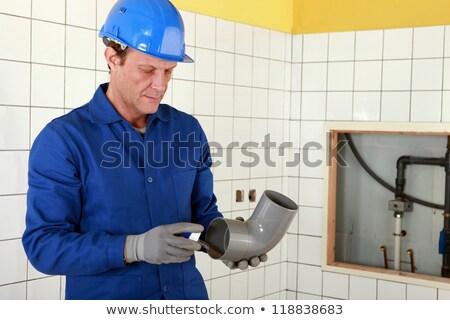 Vízvezetékszerelő dolgozik nyilvános toalett víz munka Stock fotó © photography33