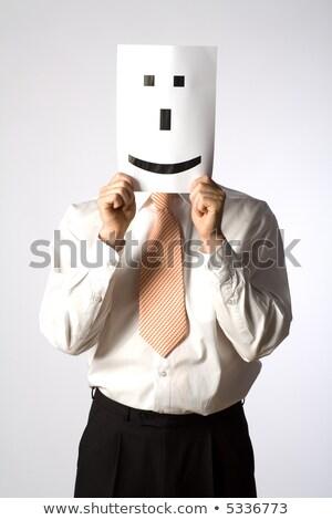 ビジネスマン スマイリー 顔文字 紙 顔 ストックフォト © AndreyPopov