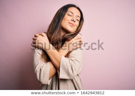 Stok fotoğraf: Kadın · sevmek · güzel · bir · kadın · kalp · şekli · parçacıklar