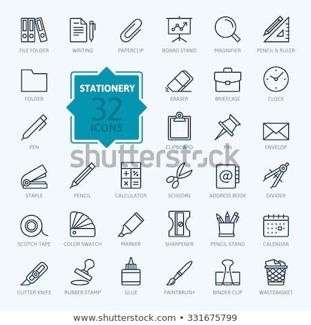 Set of office stationery icons Stock photo © elenapro