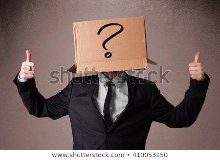 Man with cardboard box on his head questioning Stock photo © stevanovicigor