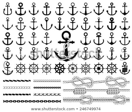 Vintage anker touw vector ingesteld zee Stockfoto © beaubelle