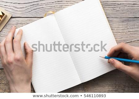 kezek · notebook · izolált · fehér · iroda · internet - stock fotó © OleksandrO