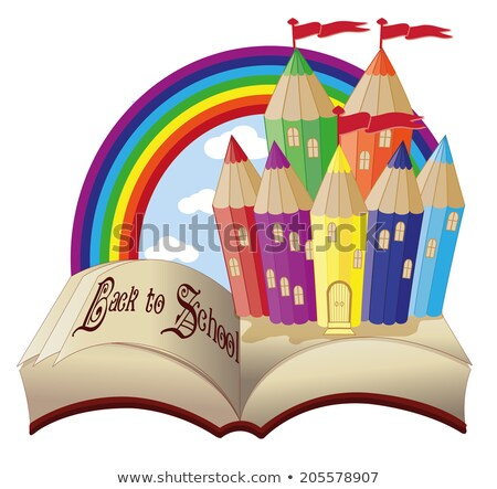 Magie livre fabuleux école château Photo stock © carodi