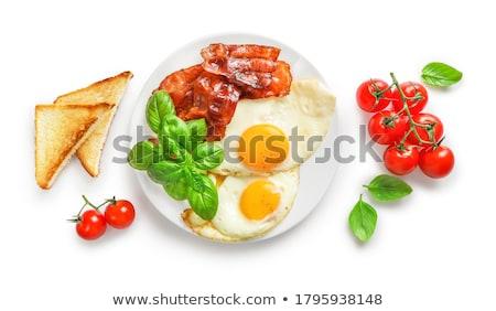 szalonna · tojás · sült · rántotta · pirítós · kenyér - stock fotó © yelenayemchuk
