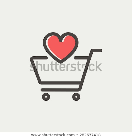 Carrinho de compras coração brilho cromo isolado branco Foto stock © kimmit