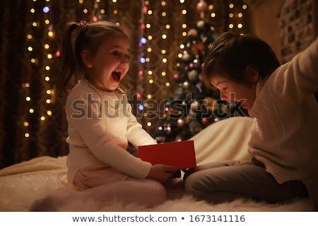 fiatal · lány · karácsonyfa · gyönyörű · fa · boldog · otthon - stock fotó © id7100