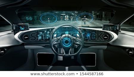 Auto cockpit straße  Auto · Cockpit · Stadt · Straße · Glas · Radio - stock foto ...