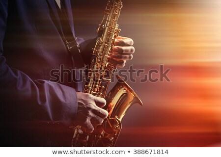 Stockfoto: Vintage · foto's · kerstman · pels · spelen · saxofoon