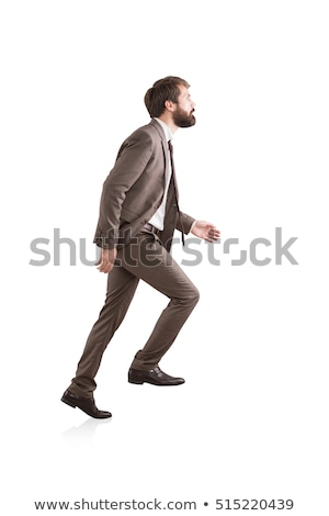 Сток-фото: бизнесмен · скалолазания · мнимый · шаги · вид · сбоку