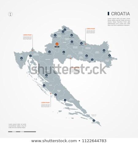 orange button with the image maps of croatia stock photo © mayboro