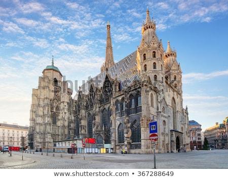 Katedrális Bécs kilátás tornyok homlokzat művészet Stock fotó © FER737NG
